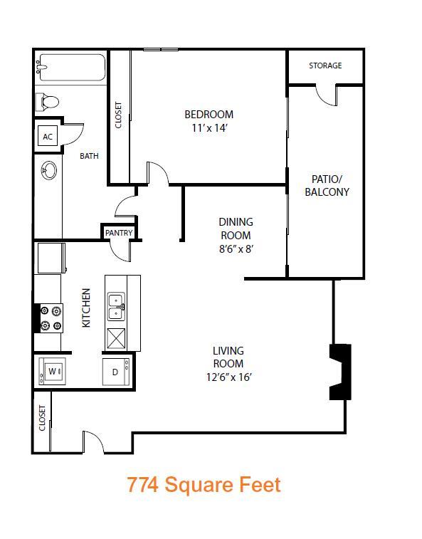774 sq. ft. Hawthorn floor plan