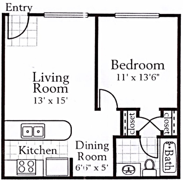 680 sq. ft. A1 floor plan