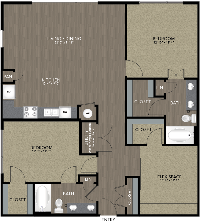 1,409 sq. ft. Trinity floor plan