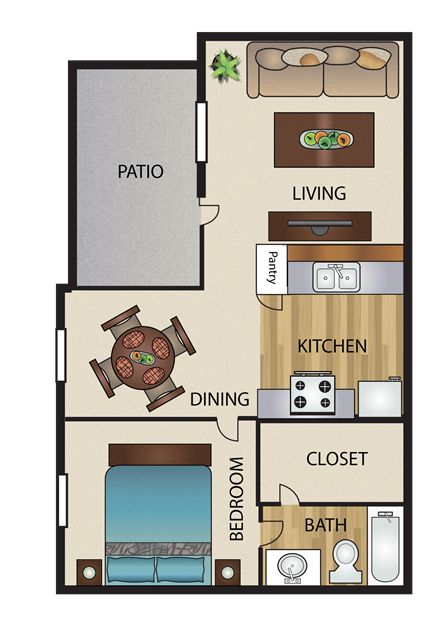 556 sq. ft. A1 floor plan