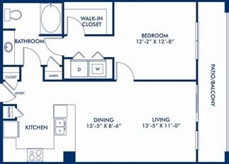 848 sq. ft. Artemide floor plan