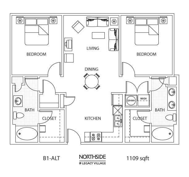 1,109 sq. ft. B1-ALT floor plan