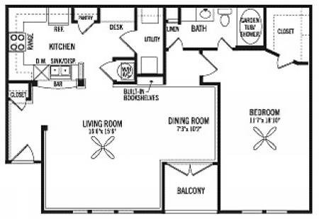 1,007 sq. ft. A3 floor plan