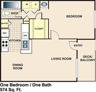 574 sq. ft. A1 floor plan