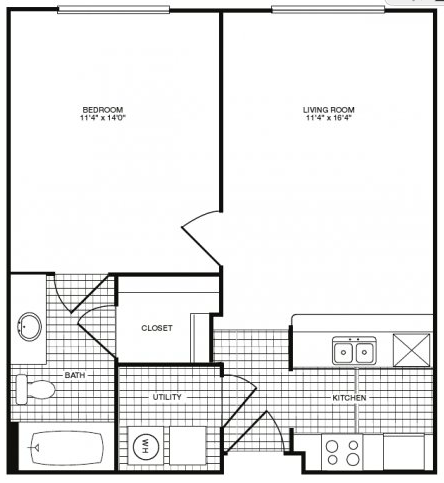 603 sq. ft. A34 floor plan