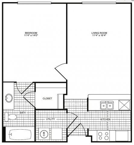603 sq. ft. A34 floor plan