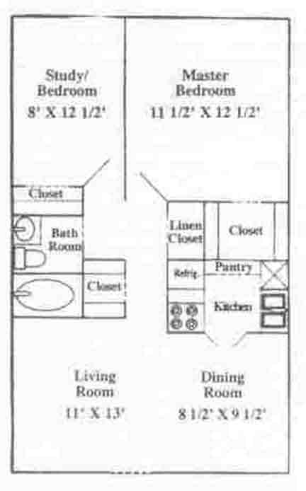 739 sq. ft. A-1U floor plan