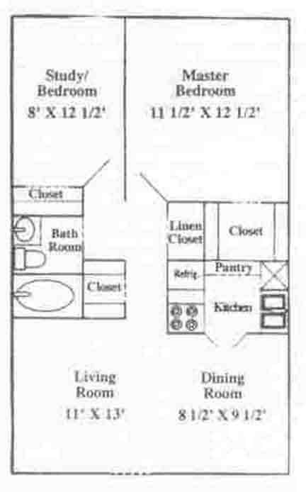 739 sq. ft. A-1U floor plan