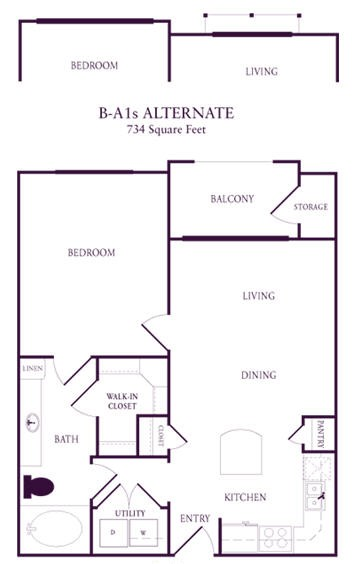 734 sq. ft. B-A1S floor plan