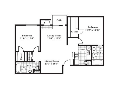 926 sq. ft. B2F floor plan