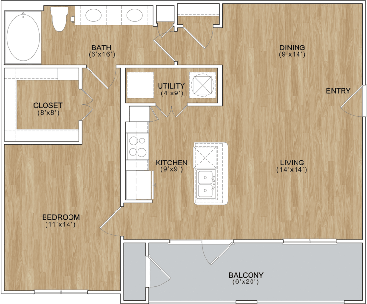 844 sq. ft. Enclave floor plan