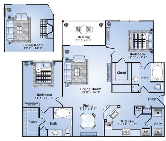 1,104 sq. ft. Cheyenne floor plan
