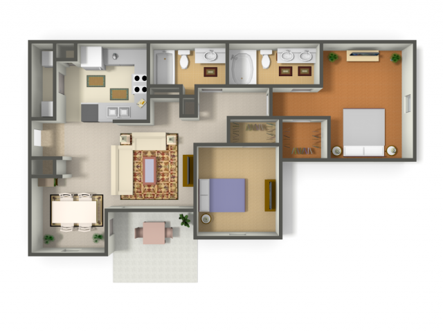 974 sq. ft. DURANGO (B2) floor plan