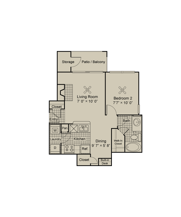 744 sq. ft. A1.1 floor plan