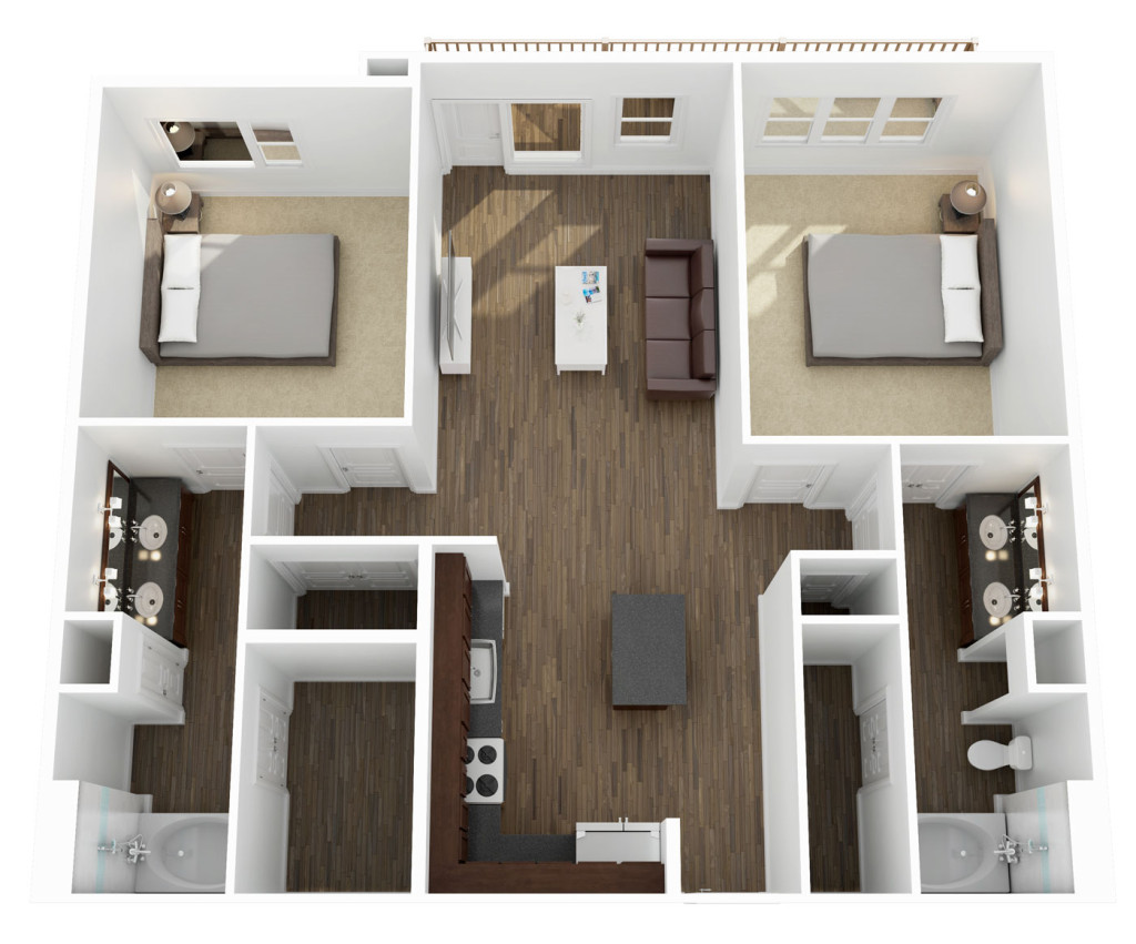 1,087 sq. ft. to 1,105 sq. ft. B1 floor plan
