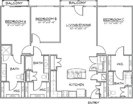 1,461 sq. ft. floor plan