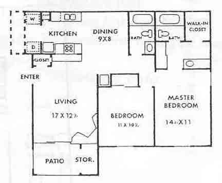 972 sq. ft. Waterside floor plan