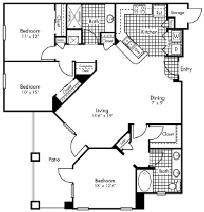 1,327 sq. ft. C1 floor plan
