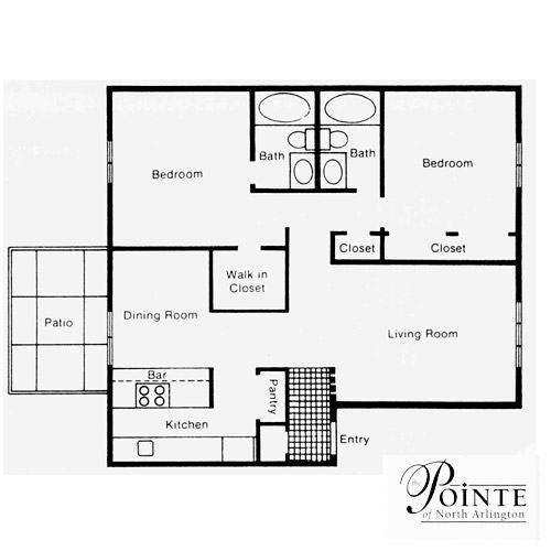 1,060 sq. ft. B floor plan