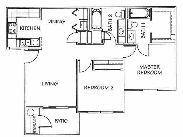 875 sq. ft. 60% floor plan