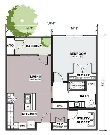 829 sq. ft. Gateway/50% floor plan