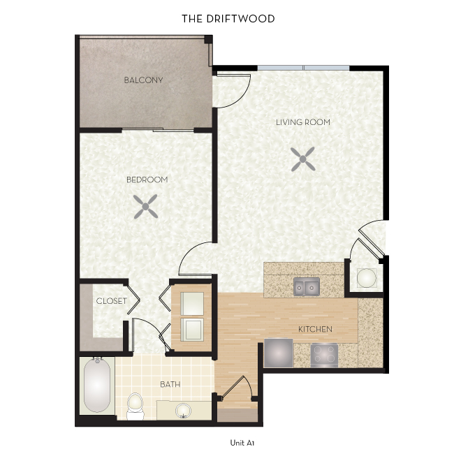 699 sq. ft. Driftwood floor plan