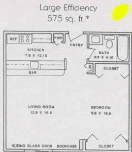 575 sq. ft. ABP floor plan
