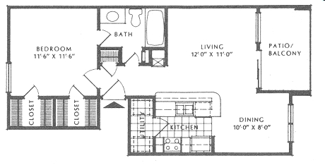 640 sq. ft. A1/Victorian floor plan
