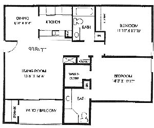938 sq. ft. B2 floor plan