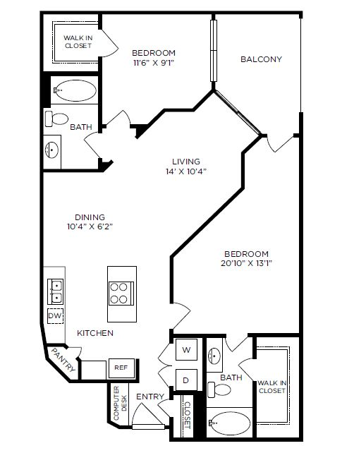 1,130 sq. ft. Avery floor plan
