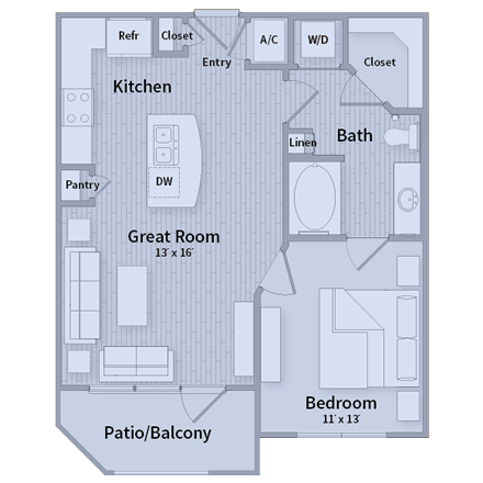 881 sq. ft. floor plan