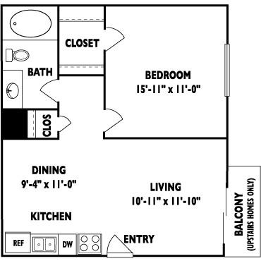 517 sq. ft. A floor plan
