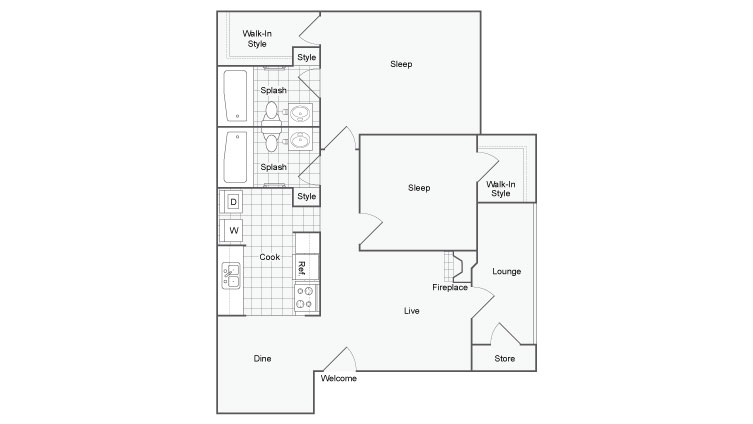 1,000 sq. ft. La Hacienda floor plan