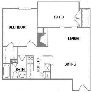 648 sq. ft. A3/A4 floor plan