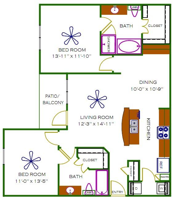 1,112 sq. ft. Sagemore floor plan
