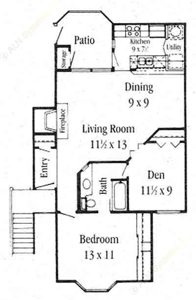 874 sq. ft. A-4 floor plan