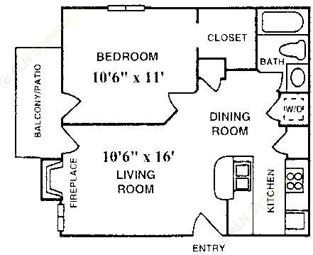 504 sq. ft. A-1-F floor plan