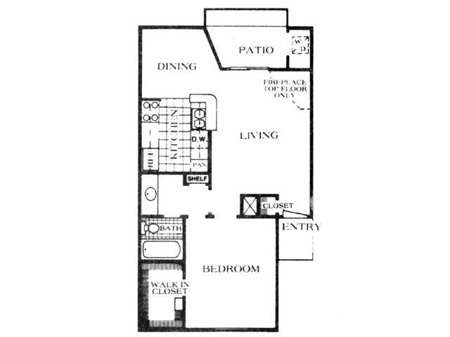 654 sq. ft. A6 floor plan