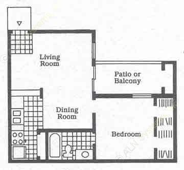 563 sq. ft. A2 floor plan