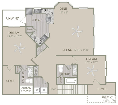 1,436 sq. ft. B2U floor plan