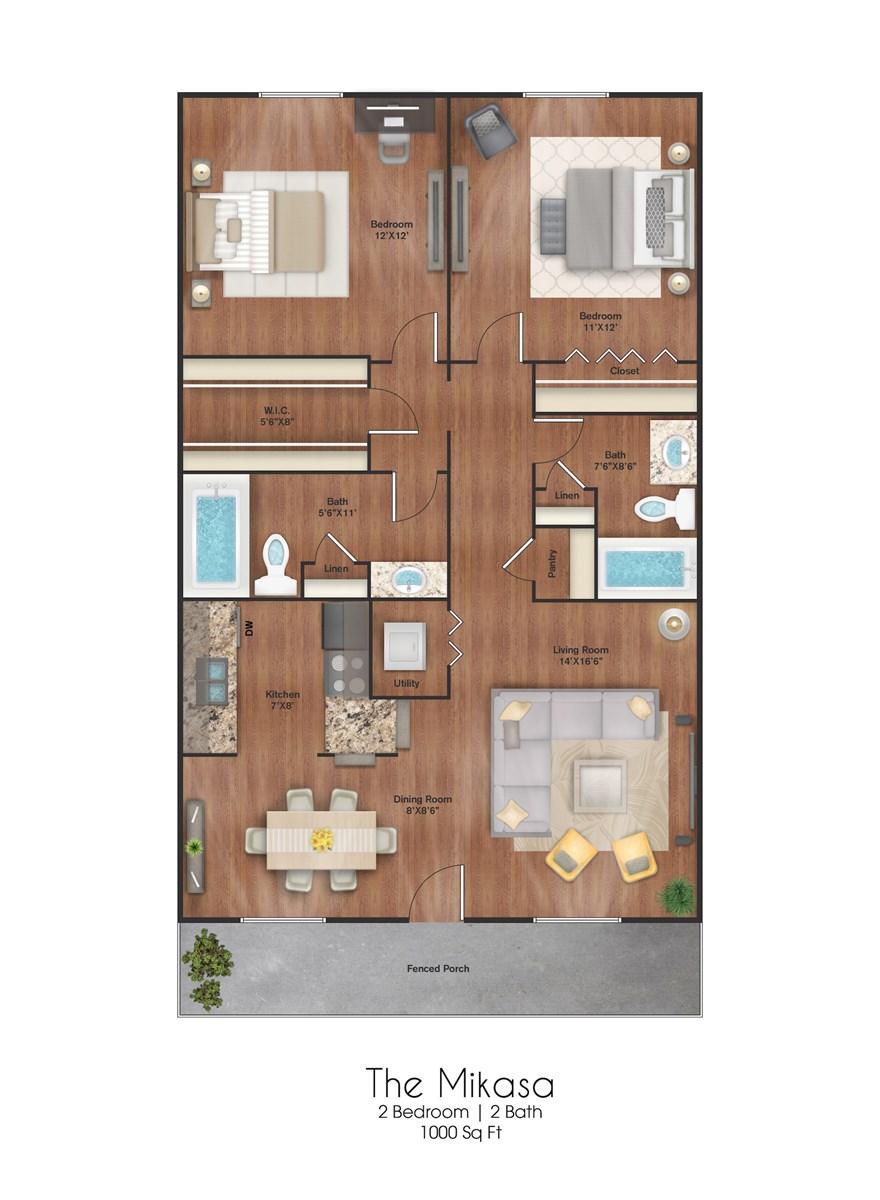 1,000 sq. ft. Mikasa floor plan