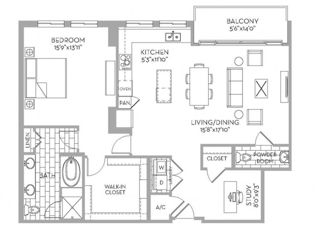 1,320 sq. ft. Preston(A.8) floor plan