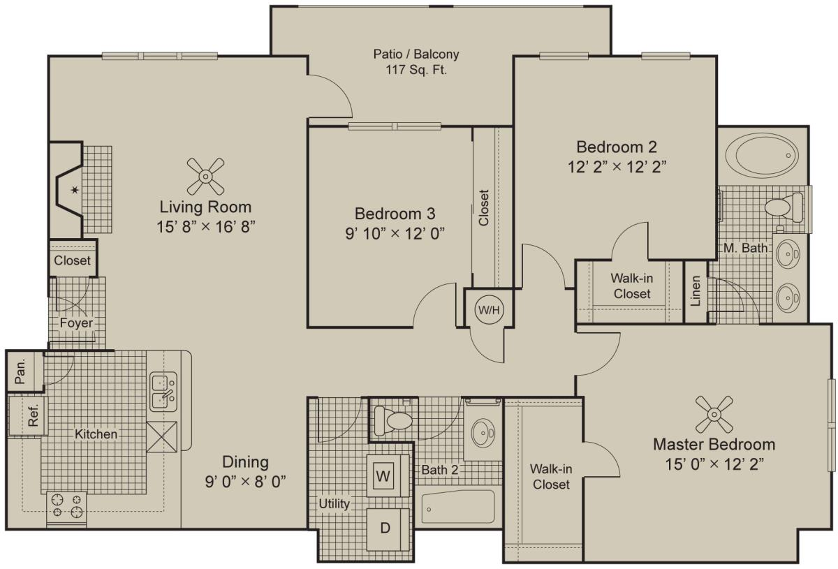1,436 sq. ft. C1.1 floor plan