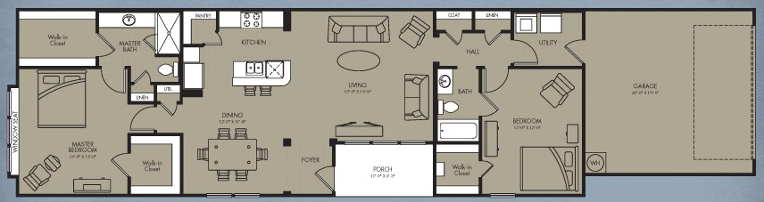 1,450 sq. ft. Kalinda Cottage floor plan