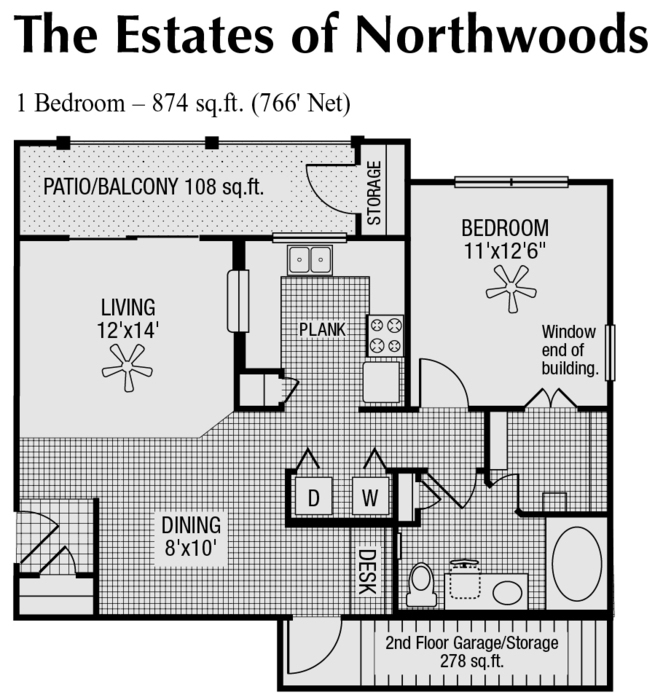 766 sq. ft. to 874 sq. ft. B/C floor plan