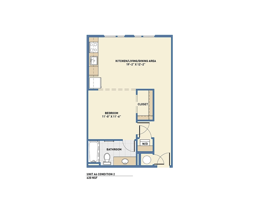 620 sq. ft. A6 floor plan