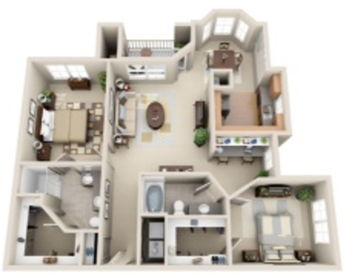 1,176 sq. ft. Atlanta floor plan