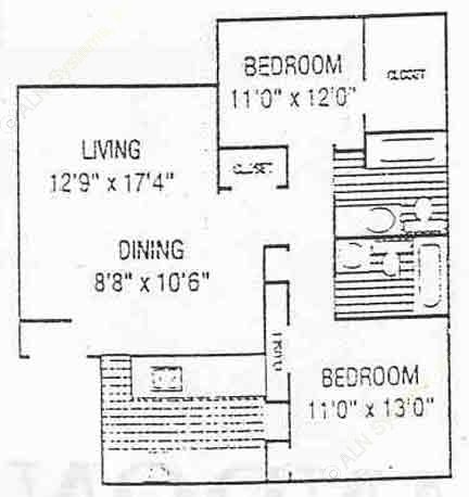 953 sq. ft. B2 floor plan