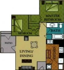 921 sq. ft. Charelston/60 floor plan