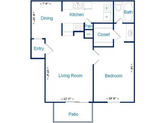 692 sq. ft. B floor plan